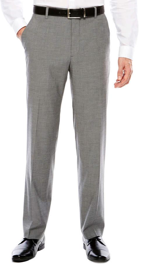 Jf J.Ferrar Men's JF Texture Stretch Gray Flat-Front Straight-Leg Slim Pants