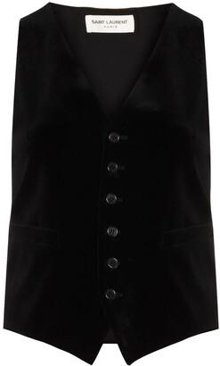 Saint Laurent Velvet-Effect Sleeveless Waistcoat