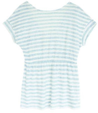 Hoss Intropia Blue Tie Detail Striped Top - M - Blue