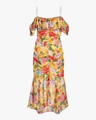 Divine Heritage Cold-Shoulder Ruched Midi Dress