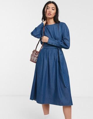 Selected denim smock dress