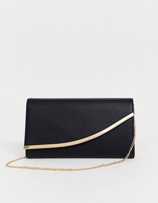 Asos Design DESIGN curved bar clutch bag with detachable chain strap-Black