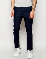 Lindbergh Cropped Trousers With Pleated Front In Blue