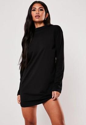 Missguided Black Basic Long Sleeve T Shirt Dress