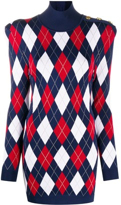 Balmain High-Neck Knit Jumper Dress