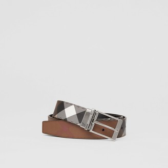 Burberry Reversible Check E-canvas and Leather Belt