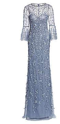 Theia Women's Flounce-Sleeve 3-D Embroidered Gown