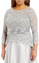 Alex Evenings Plus 3/4-Sleeve Lace Blouse