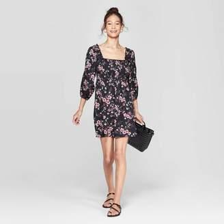 Xhilaration Women's Floral Print 3/4 Sleeve Square Neck Off the Shoulder Smocked Top Dress