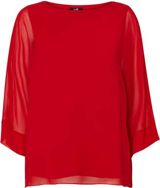 Wallis Red Sheer Overlay Blouse