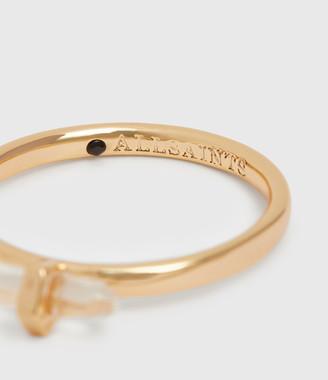 AllSaints Quin Gold Tone Semi-Precious Crystal Quartz Three Ring Set