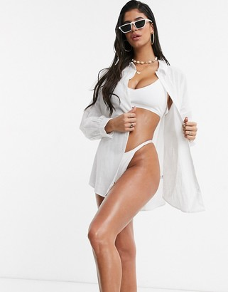 Asos DESIGN natural oversized beach shirt in white