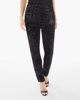 Chico's Sequins and Panne Tapered Ankle Pants in Black