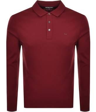 Michael Kors Sleek Long Sleeve Polo T Shirt Red