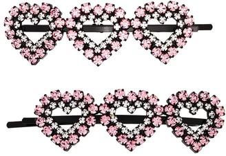 Ashley Williams Heart Crystal Hair Clips