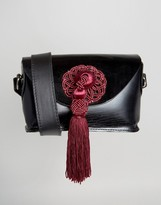 Park Lane Real Leather Cross Body Bag With Contrast Tassel Detail