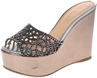 Sergio Rossi Metallic Two Tone Crystal Embellished Suede and Leather Tresor Wedge Sandals Size 36
