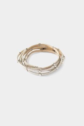 francesca's Belen Crystal Leather Wrap Bracelet - Brown