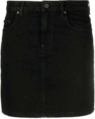 McQ Swallow Contrast-Stitching Denim Skirt