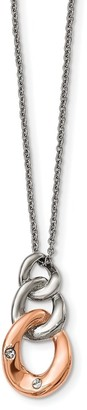 Chisel Stainless Steel Polished with Rose IP-plated Three Loop Crystal Necklace