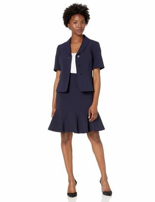 Le Suit Women's 3 Button Notch Collar Short Sleeve Crepe Flounce Skirt Suit