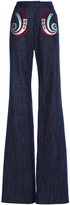 Holly Fulton Embroidered Denim Bard Flared Trousers