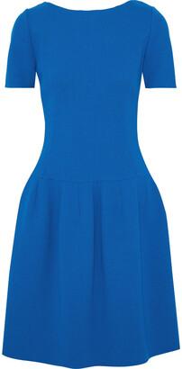 Oscar de la Renta Pleated Wool-blend Crepe Dress