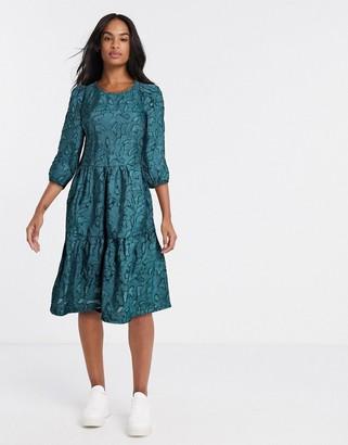 Vila textured oversized smock dress in green