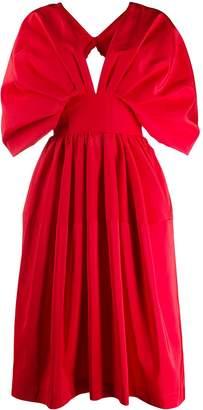 Alexander McQueen cape-style sleeves midi dress