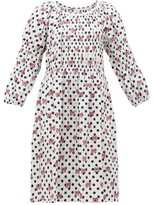 Comme des Garcons Disney-print Gathered Cotton Midi Dress - Womens - White Multi