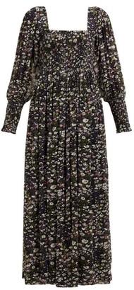 Ganni Shirred Floral-print Georgette Maxi Dress - Womens - Black Multi