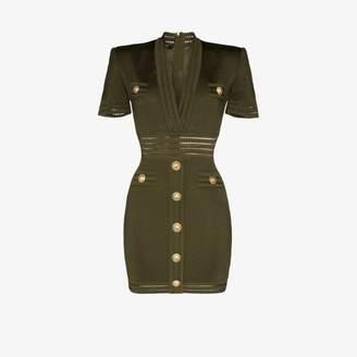 Balmain V-neck gold button mini dress
