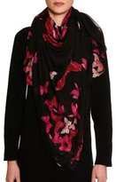 Alexander McQueen Square Voile Butterfly Scarf, Black/Pink