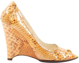 Fendi Orange Python Heels