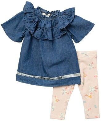 Jessica Simpson Chambray Ruffle Top & Bloom Leggings