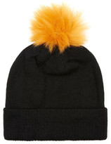 Topman Knit Beanie with Faux Fur Pompom