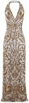 Jywal London GOLD EMBELLISHED BACKLESS EVENING MAXI DRESS