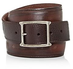John Varvatos Men's Mesh Inlay Leather Belt
