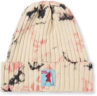 KAPITAL Ashbury Appliqued Tie-dyed Ribbed Cotton Beanie - Neutrals