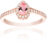 Bliss Morganite & Cubic Zirconia Halo Teardrop Ring