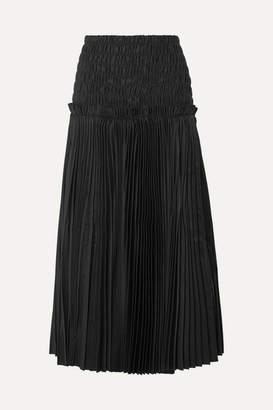 KHAITE Rosa Shirred Pleated Cotton-poplin Midi Skirt - Black
