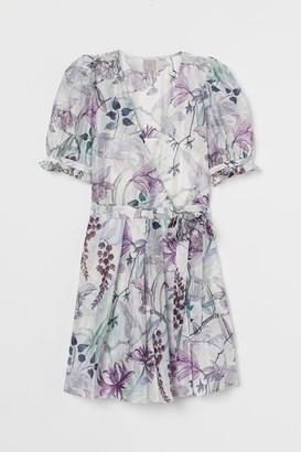 H&M Lyocell-blend Wrap Dress - Beige
