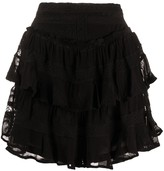 IRO tiered embroidered skirt