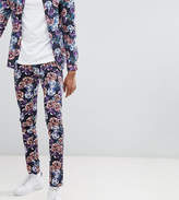 Asos Design Tall Super Skinny Pants In Bright Floral Print