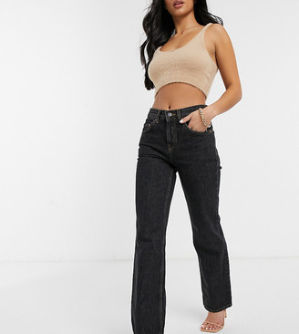 ASOS DESIGN Petite mid rise '90's' straight leg jeans washed black