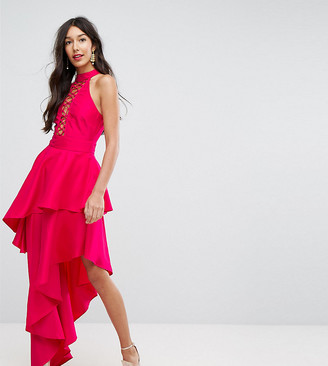 ASOS TALL Sexy Lace Up Tiered Maxi Dress