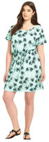 Junarose Palm Tree Print Tie Waist Jersey Dress