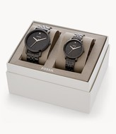 Fossil His And Her Lux Luther Three-Hand Black Stainless Steel Watch Gift Set jewelry