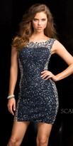 Scala Sequin Two Tone Illusion Cocktail Dress