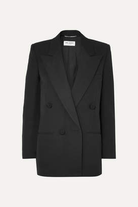 Saint Laurent Double-breasted Satin-trimmed Wool Blazer - Black